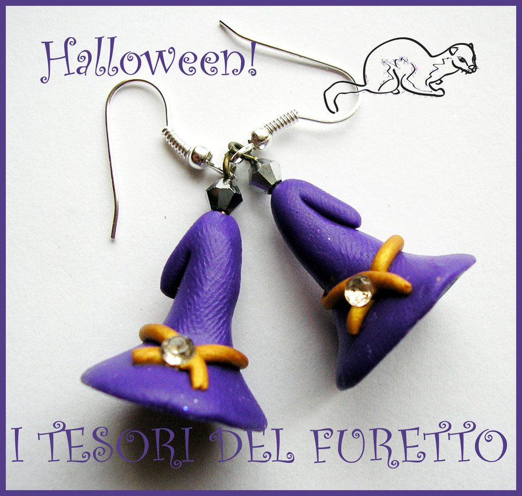 "Orecchini ""Halloween Cappelli da strega"" 2012 fimo cernit kawaii"