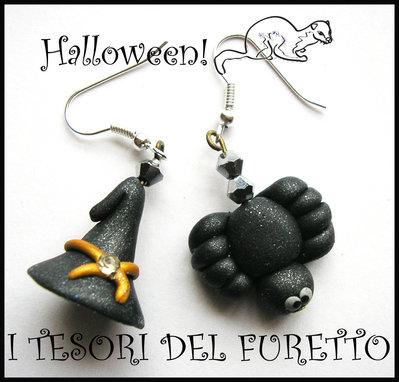 """Orecchini """"Halloween Cappello  da strega e ragnetto"""" 2012 fimo cernit kawaii"""