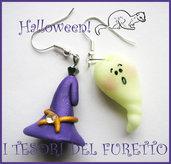 "Orecchini ""Halloween Cappello  da strega e fantasmino"" 2012 fimo cernit kawaii"