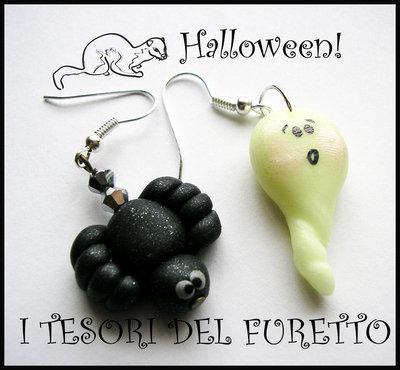 """Orecchini """"Halloween Ragnetto  e fantasmino"""" 2012 fimo cernit kawaii"""