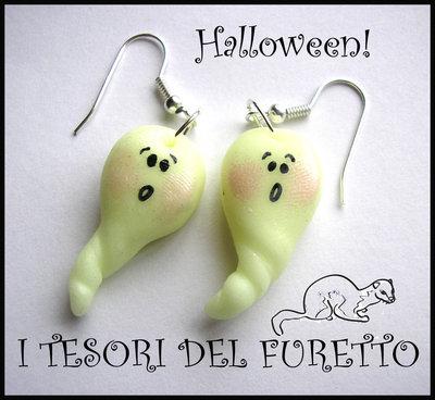 """Orecchini """"Halloween Fantasmini"""" 2012 fimo cernit kawaii"""