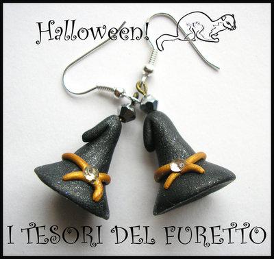 "Orecchini ""Halloween Cappelli da strega Neri"" 2012 fimo cernit kawaii"