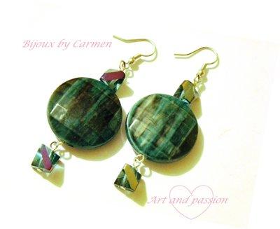 orecchini verde petrolio