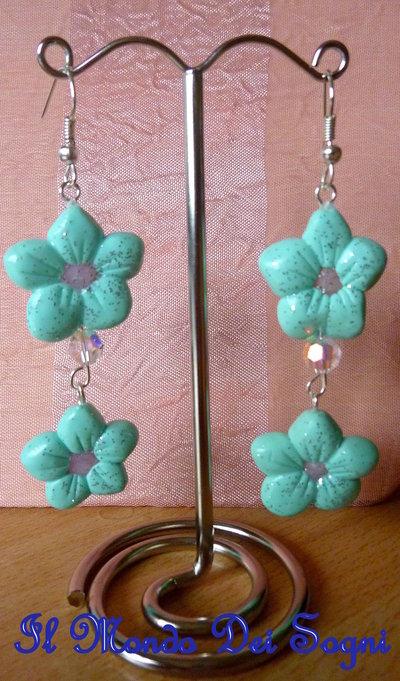Orecchini fiore verde acqua FIMO+PICCOLO OMAGGINO!!