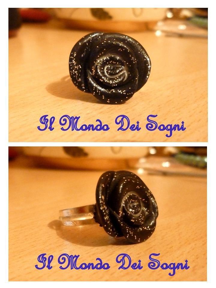 Anello rosa nera FIMO+SCATOLINA REGALO!