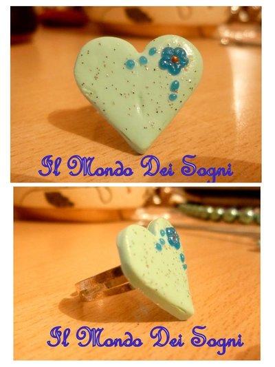 Anello cuore verde acqua FIMO+SCATOLINA REGALO