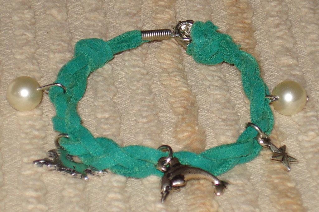 bracciale treccia in pelle sintetica color verde