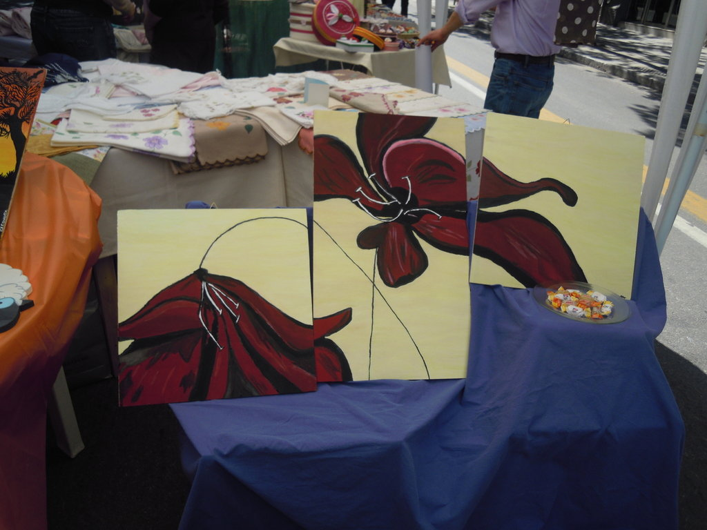 quadro 3 pezzi fiori
