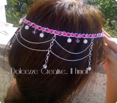 Coroncina decorativa per capelli: Argento e rosa, nastri e perle