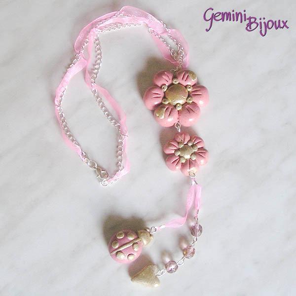 Collana fiori rosa in fimo