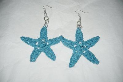 orecchini uncinetto a forma di stella con pietre!!