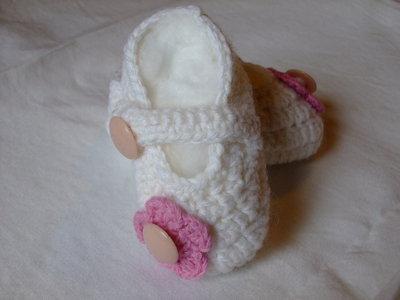 Scarpine baby ballerine di lana bianco panna, misura-3-6 mesi