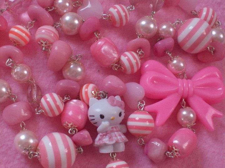 collana lunga rosa hello kitty fiocco