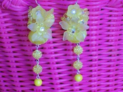 orecchini gialli swarovski cristallo e lucite