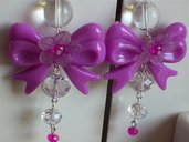 orecchini viola con fiocco e cristallo