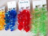 orecchini in plastica reciclata con punto luce e mezzo cristallo!fatti a mano