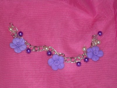 bracciale con fiori fimo