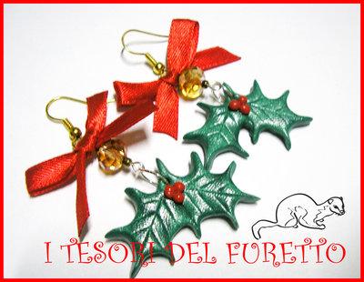 """Orecchini """" Agrifoglio Natale """" fimo cernit kawaii idea regalo"""