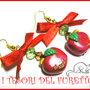 """Orecchini """"Mele rosse Natale 2014"""" idea regalo kawaii fimo cernit"""