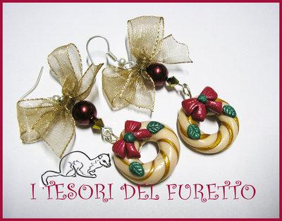 """Orecchini """"Ghirlanda Oro Natale 2012"""" fimo cernit kawaii idea regalo"""