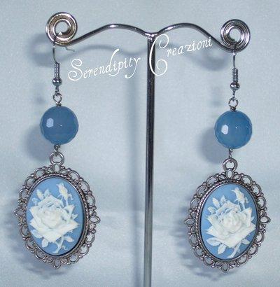 Orecchini Cammeo e Perla Agata Azzurra