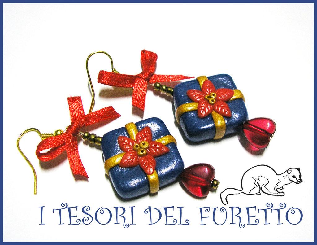 """Orecchini """"Pacchetti  Regalo Piatti Blu Natale"""" fimo cernit idea regalo 2014"""