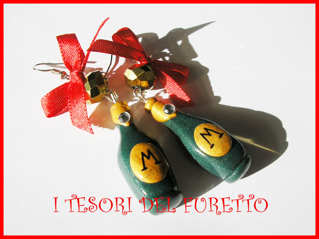 """Orecchini """"  Bottiglie spumante champagne Natale"""" fimo cernit idea regalo 2014"""