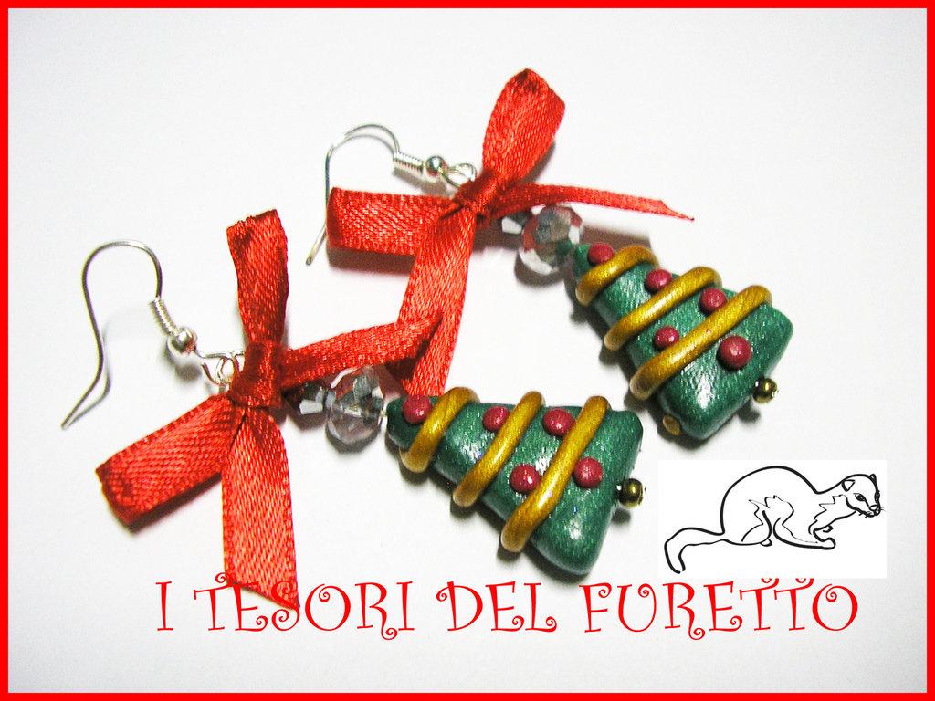 """Orecchini """"Alberi di Natale"""" 2012 fimo cernit kawaii idea regalo"""