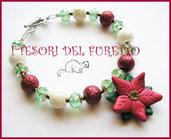 """Bracciale """"Stella di Natale Rosso Carminio"""" 2012 fimo kawaii idea regalo cernit"""