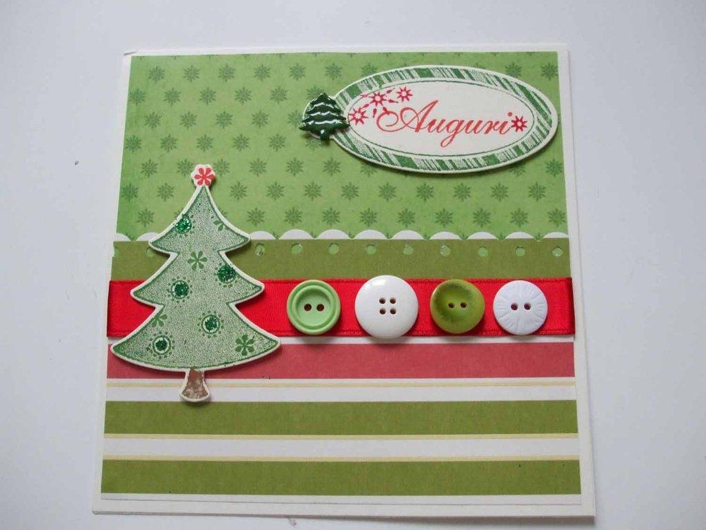 Biglietto Natale con alberello e bottoni