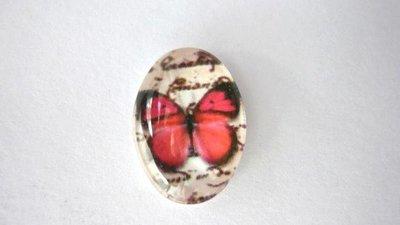 Cabochon in vetro temperato, RedButterfly