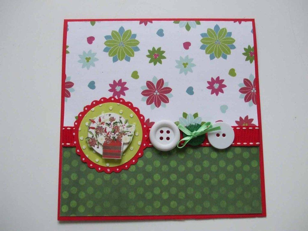 Biglietto Natale fiori e bottoni