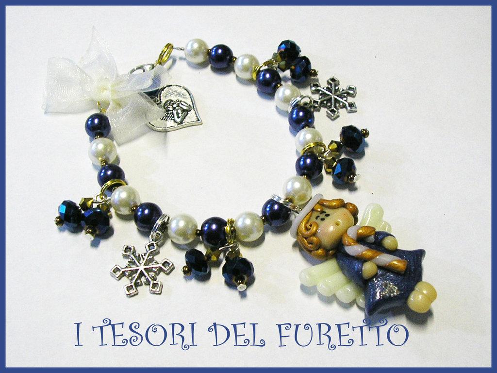 """Bracciale """"Natale 2012 Fufuangel Blu"""" fimo cernit kawaii idea regalo per lei bijoux natalizi"""