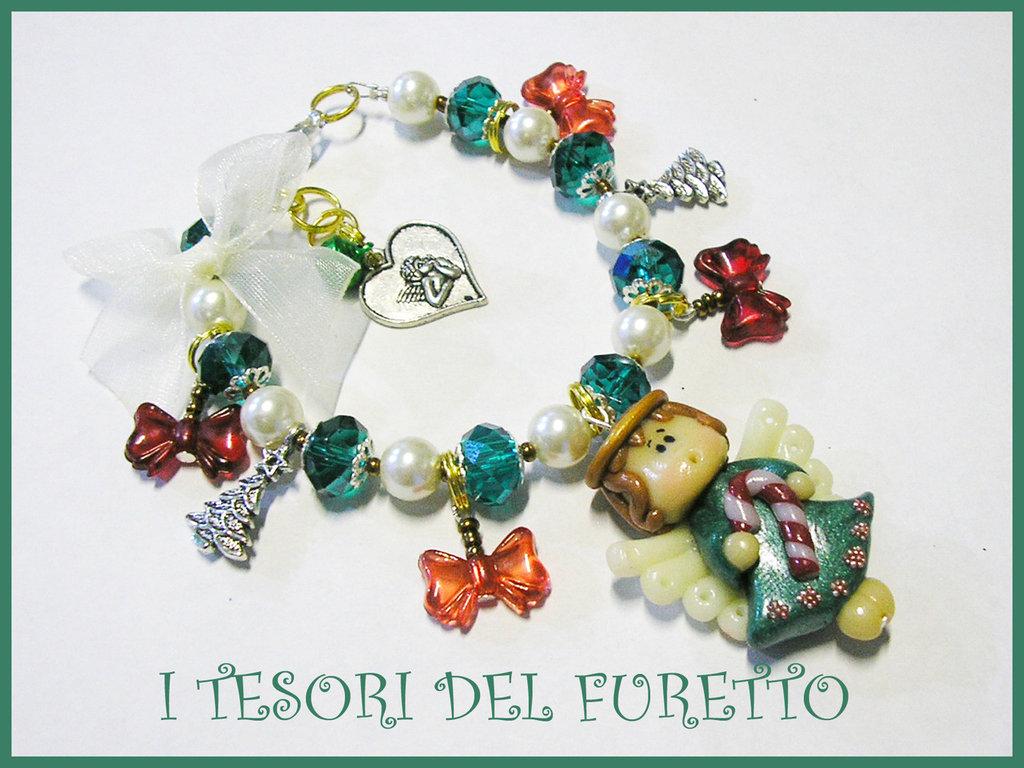 "Bracciale ""Natale 2012 Fufuangel Verde-Rosso"" fimo cernit kawaii idea regalo per lei bijoux natalizi"
