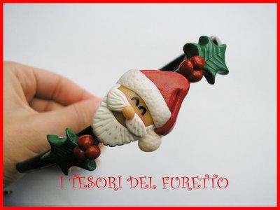 """Cerchietto """"Natale 2012 Babbo Natale agrifoglio"""" fimo cernit kawaii bimba idea regalo"""