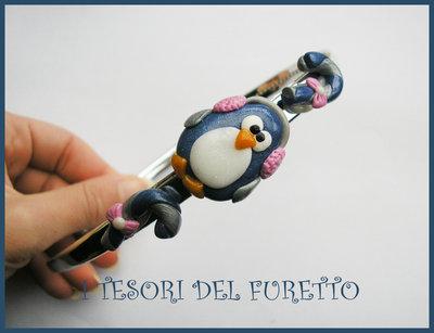"""Cerchietto """"Natale 2012 Pinguino Blu e Argento"""" fimo cernit kawaii bimba idea regalo"""