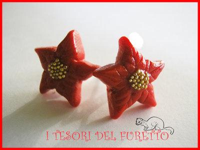 """Orecchini """"Natale 2014 Perno stelle Natale Rosso Acceso"""" fimo cernit kawaii idea regalo per lei bijoux natalizi"""