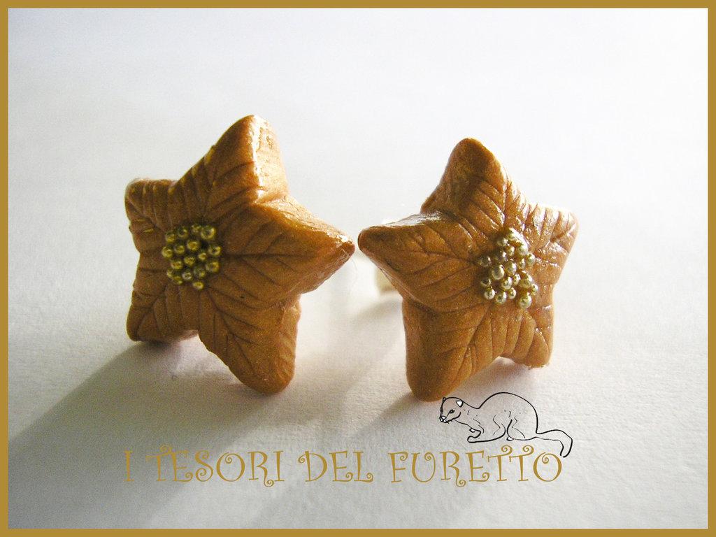 """OFFERTA: Orecchini """"Natale 2014 Perno stelle Natale Oro"""" fimo cernit kawaii idea regalo per lei bijoux natalizi"""
