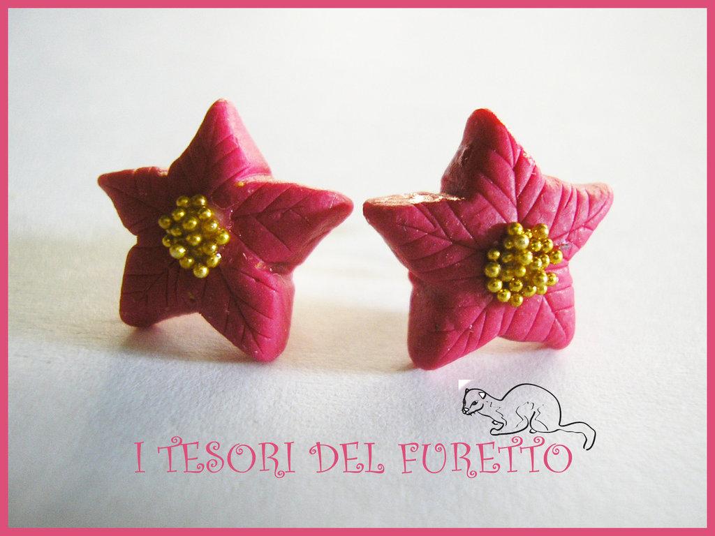 """Orecchini """"Natale 2013 Perno stelle Natale Rosso Carminio"""" fimo cernit kawaii idea regalo per lei bijoux natalizi"""