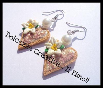 ☃Natale In Dolcezze 2014☃ Orecchini biscotti cuoricini con stella di natale <3