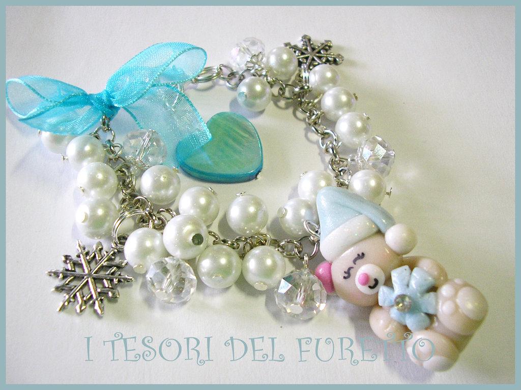 """Bracciale """"Natale 2012 Fufuorsetto Fiocco di Neve azzurro- bianco"""" fimo cernit kawaii"""