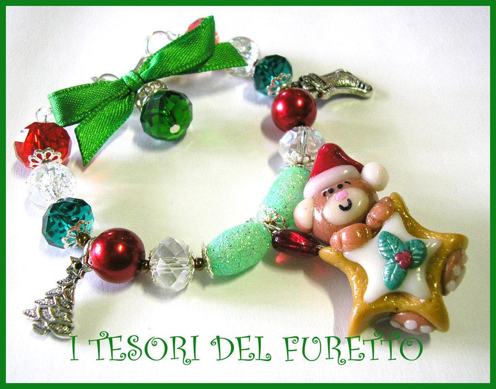 """Bracciale """"Natale 2012 Fufuorsetto su Biscotto a stella rosso"""" fimo cernit kawaii"""
