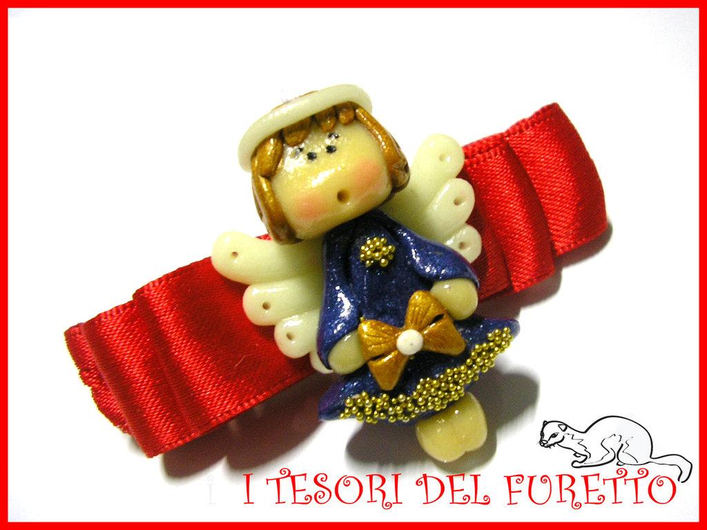 """Fermaglio """"Natale 2012 Fufuangel  Blu e Oro""""  Angelo angioletto Idea regalo fimo cernit kawaii"""
