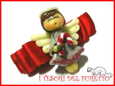 "Fermaglio ""Natale 2012 Fufuangel  Bianco e Rosso""  Angelo angioletto Idea regalo fimo cernit kawaii"