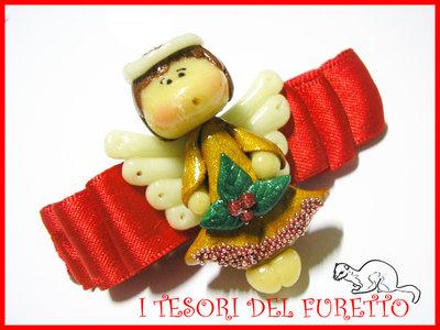 "Fermaglio ""Natale 2012 Fufuangel  ORO""  Angelo angioletto Idea regalo fimo cernit kawaii"