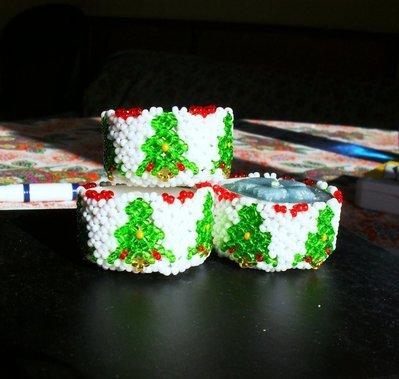 porta candela natalizio in perline