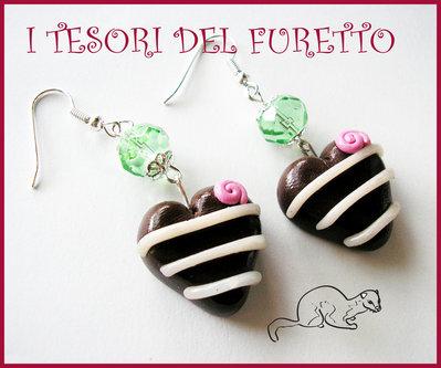 "Orecchini ""Cioccolatini Cuore"" fimo cernit idea regalo kawaii"