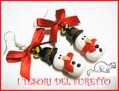 """Orecchini """" Omini di Neve """" Natale 2013 fimo cernit kawaii"""