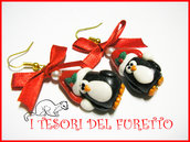 """Orecchini """" Pinguini Natalizi """" Natale 2015 fimo pinguino con cappello cernit kawaii idea reagalo bambina ragazza economico"""