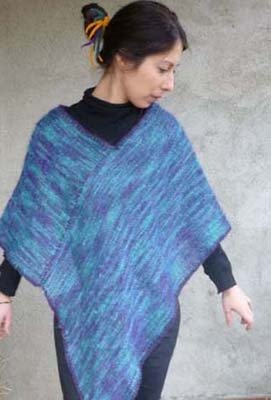 Poncho in lana mohair